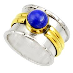 2.68cts victorian natural lapis lazuli 925 silver two tone ring size 7.5 d34361