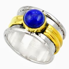 Clearance Sale- 2.27cts victorian natural lapis lazuli 925 silver two tone ring size 6 d34363