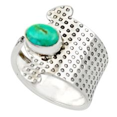 1.56cts green arizona mohave turquoise 925 silver adjustable ring size 6 d34366