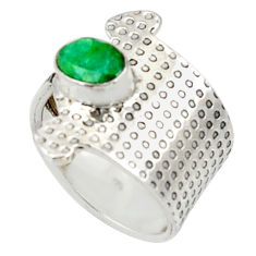 Clearance Sale- 1.49cts natural green emerald 925 silver adjustable solitaire ring size 7 d34369