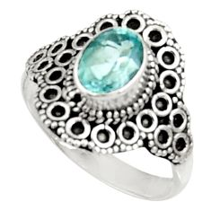Clearance Sale- 2.12cts natural blue topaz 925 sterling silver solitaire ring size 9 d34382