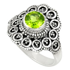 Clearance Sale- 1.27cts natural green peridot 925 sterling silver solitaire ring size 7 d34385