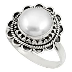 Clearance Sale- 5.38cts natural white pearl 925 sterling silver solitaire ring size 8.5 d34390
