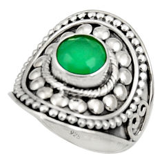 Clearance Sale- 3.34cts natural green chalcedony 925 silver solitaire ring jewelry size 8 d34393