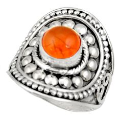 925 silver 3.24cts natural orange cornelian solitaire ring size 8.5 d34395