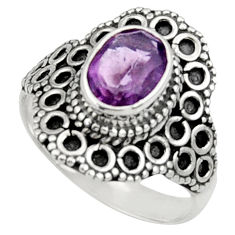 Clearance Sale- 925 silver 2.14cts natural purple amethyst solitaire ring jewelry size 6 d34404