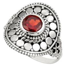 Clearance Sale- 1.34cts natural red garnet 925 sterling silver solitaire ring size 8 d34405