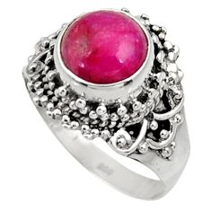 Clearance Sale- 4.93cts natural red ruby 925 sterling silver solitaire ring size 8.5 d34411