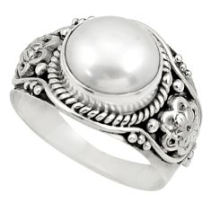 Clearance Sale- 5.38cts natural white pearl 925 sterling silver solitaire ring size 7.5 d34413