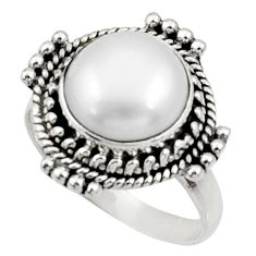 Clearance Sale- 5.63cts natural white pearl 925 sterling silver solitaire ring size 7.5 d34414