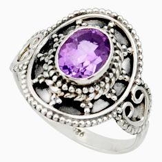 Clearance Sale- 2.14cts natural purple amethyst 925 silver solitaire ring size 7.5 d34429