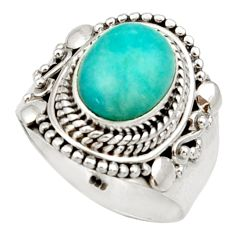 925 silver 4.22cts natural green peruvian amazonite solitaire ring size 7 d34433