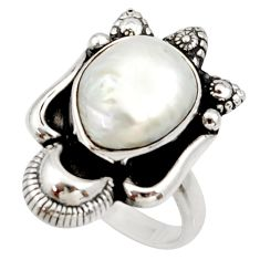 6.48cts natural white biwa pearl 925 silver solitaire ring size 7.5 d34435