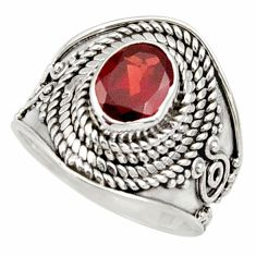 Clearance Sale- 925 sterling silver 2.26cts natural red garnet solitaire ring size 6 d34444