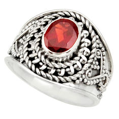 Clearance Sale- 2.01cts natural red garnet 925 sterling silver solitaire ring size 7 d34447