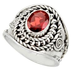 Clearance Sale- 2.17cts natural red garnet 925 sterling silver solitaire ring size 7 d34451
