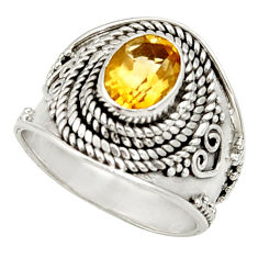 Clearance Sale- 2.19cts natural yellow citrine 925 silver solitaire ring jewelry size 7 d34456