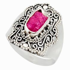 Clearance Sale- 925 silver 4.21cts natural pink ruby rough solitaire ring jewelry size 9 d34464