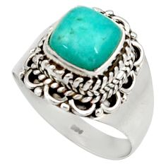 Clearance Sale- 3.42cts natural green peruvian amazonite 925 silver solitaire ring size 8 d34466