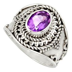 Clearance Sale- 2.23cts natural amethyst 925 sterling silver solitaire ring size 8 d34476