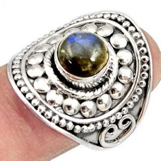 Clearance Sale- 925 silver 3.12cts natural blue labradorite solitaire ring jewelry size 9 d34478