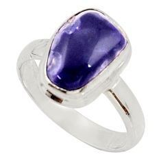 Clearance Sale- 4.69cts natural purple opal 925 sterling silver solitaire ring size 8 d34482