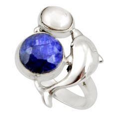 Clearance Sale- 6.54cts natural blue sapphire pearl 925 silver dolphin ring size 7 d34485