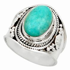 925 silver 4.52cts natural green peruvian amazonite solitaire ring size 7 d34487