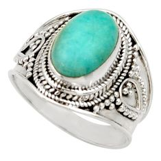 4.69cts natural peruvian amazonite 925 silver solitaire ring size 8.5 d34490