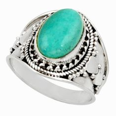 Clearance Sale- 925 silver 4.53cts natural green peruvian amazonite solitaire ring size 8 d34491