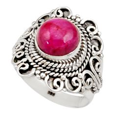 Clearance Sale- 3.16cts natural red ruby 925 sterling silver solitaire ring size 8 d34501