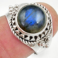 Clearance Sale- 5.36cts natural blue labradorite 925 silver solitaire ring jewelry size 7 d34508