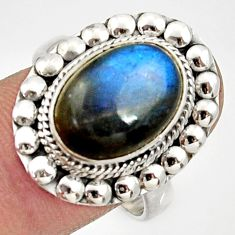 Clearance Sale- 6.45cts natural blue labradorite 925 silver solitaire ring size 8.5 d34514