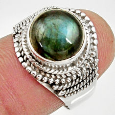 Clearance Sale- 5.53cts natural blue labradorite 925 silver solitaire ring jewelry size 7 d34516