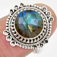 Clearance Sale- 5.10cts natural blue labradorite 925 silver solitaire ring jewelry size 7 d34530