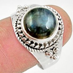 Clearance Sale- 925 silver 5.63cts natural blue labradorite solitaire ring jewelry size 9 d34531