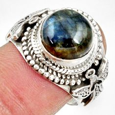 Clearance Sale- 5.83cts natural blue labradorite 925 silver solitaire ring jewelry size 8 d34553