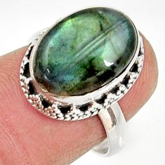 Clearance Sale- 6.31cts natural blue labradorite 925 silver solitaire ring size 6.5 d34554