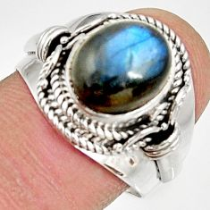 Clearance Sale- 4.82cts natural blue labradorite 925 silver solitaire ring size 8.5 d34556