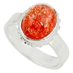 Clearance Sale- 5.31cts natural orange sunstone 925 silver solitaire ring size 7.5 d34563