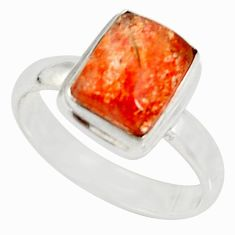 Clearance Sale- 4.40cts natural orange sunstone 925 silver solitaire ring size 8.5 d34565