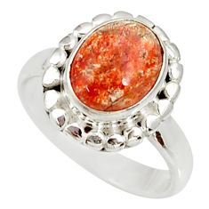 Clearance Sale- 4.21cts natural orange sunstone 925 silver solitaire ring size 7 d34568