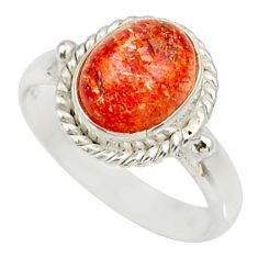 Clearance Sale- 925 silver 4.47cts natural orange sunstone oval solitaire ring size 7 d34569