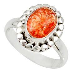 Clearance Sale- 4.02cts natural orange sunstone 925 silver solitaire ring size 7.5 d34570