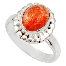 Clearance Sale- 4.02cts natural orange sunstone 925 silver solitaire ring size 8 d34571