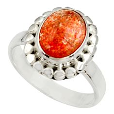 Clearance Sale- 4.02cts natural orange sunstone 925 silver solitaire ring size 7.5 d34572