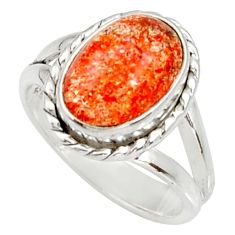 Clearance Sale- 925 silver 4.53cts natural orange sunstone oval solitaire ring size 6.5 d34574