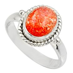 Clearance Sale- 925 silver 4.51cts natural orange sunstone oval solitaire ring size 8.5 d34576