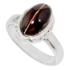 Clearance Sale- 4.08cts natural rainbow obsidian eye 925 silver solitaire ring size 6 d34578