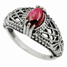 Clearance Sale- 1.56cts natural red garnet 925 sterling silver solitaire ring size 7 d35171